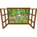 Sticker enfant fenêtre bébé animaux de la jungle réf 3920