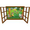 Sticker enfant fenêtre enfants dans le parc réf 3919