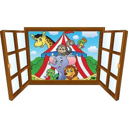 Sticker enfant fenêtre animaux et chapiteau réf 3917