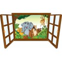 Sticker enfant fenêtre Eléphant et ses amis réf 3916