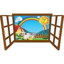 Sticker enfant fenêtre arc en ciel et animaux réf 3914