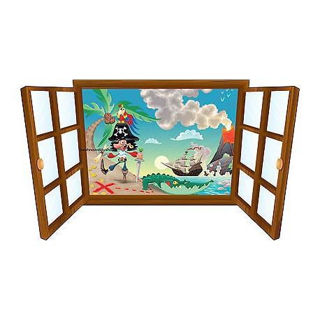 Sticker enfant fenêtre pirate et bateau réf 3912