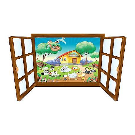 Sticker enfant fenêtre animaux a la campagne réf 3911