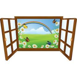 Sticker enfant fenêtre arc en ciel et papillon réf 3910