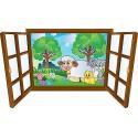Sticker enfant fenêtre mouton et ses amis réf 3909