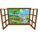 Sticker enfant fenêtre lapin et fleur réf 3908