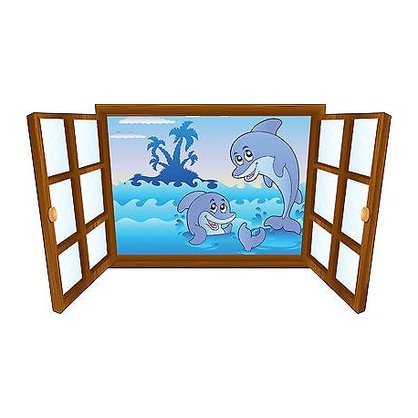 Sticker enfant fenêtre dauphins dans l'eau réf 3907