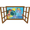 Sticker enfant fenêtre enfants et dauphins dans l'eau réf 3906