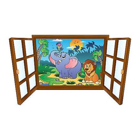 Sticker enfant fenêtre animaux & compagnie réf 3905