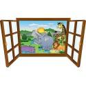 Sticker enfant fenêtre animaux souriants réf 3904