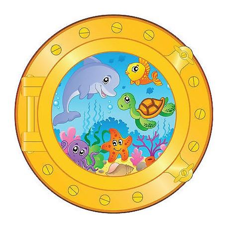 Sticker trompe l'oeil enfant animaux marins réf:hublot 1725