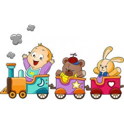 Sticker enfant Petit Train réf 3523 (Dimensions de 10 cm à 130cm de largeur)