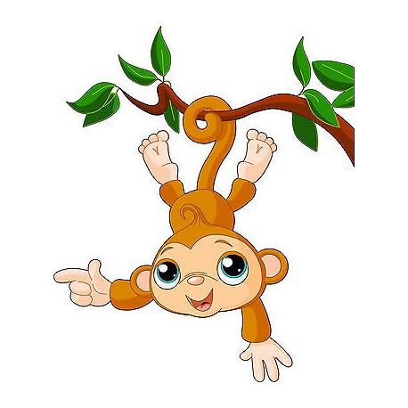 Stickers enfant Singe Liane réf 3514 (Dimensions de 10 cm à 130cm de hauteur)