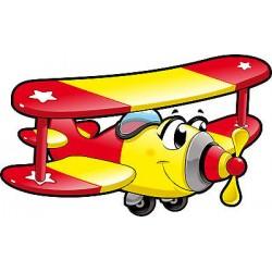 Stickers muaux enfant Avion réf 3556 (Dimensions de 10cm à 130cm de largeur)