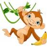 Sticker enfant Singe liane réf 3527 (Dimensions de 10 cm à 130cm de largeur)