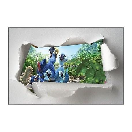 Stickers enfant papier déchiré Rio réf 7644
